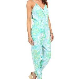 Lilly Pulitzer Melba Lagoon Green Jumpsuit